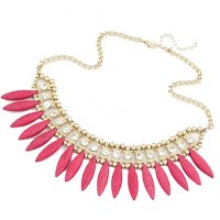 N2137 - Pink Short Para necklace