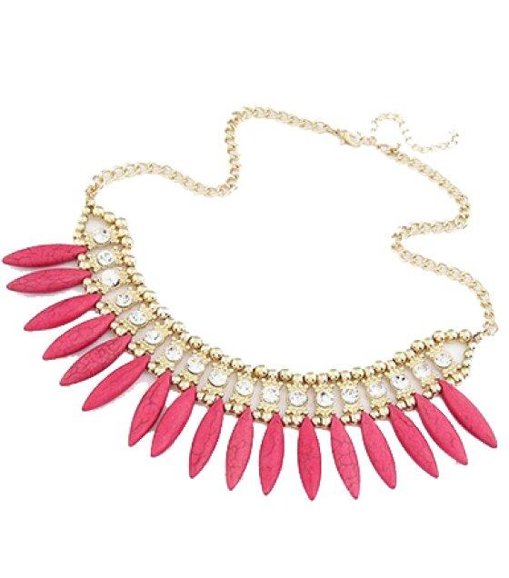 N2137 - Pink Short Para necklace