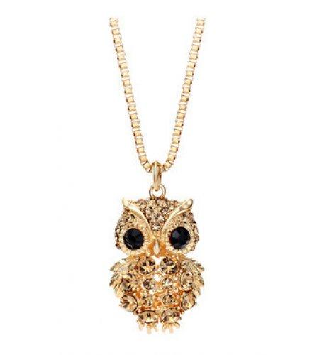 N2144 - Korean retro owl full diamond sweater chain