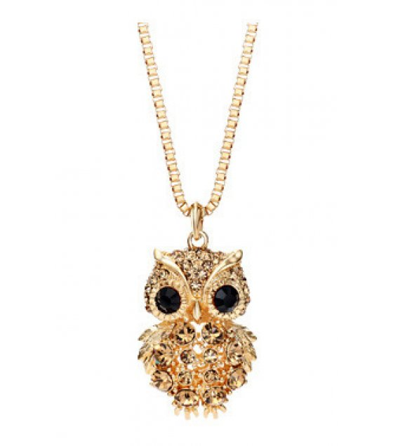 N2144 - Korean retro owl full diamond sweater chain