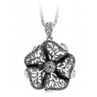 N2147 - Diamond flower necklace