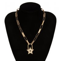N2153 - Retro star lock necklace