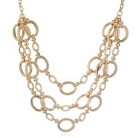 N2155 - Fashion texture multi-layer geometric metal necklace