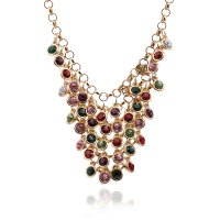 N2156 - Gemstone multi-layer chain diamond necklace