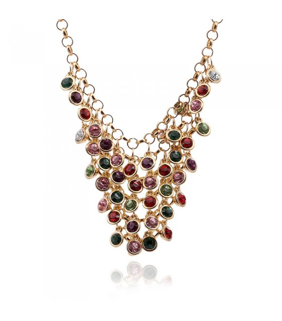 N2156 - Gemstone multi-layer chain diamond necklace