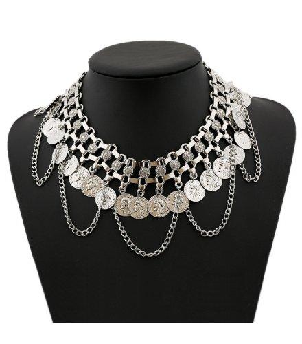 N2160 - Retro tassel coin necklace