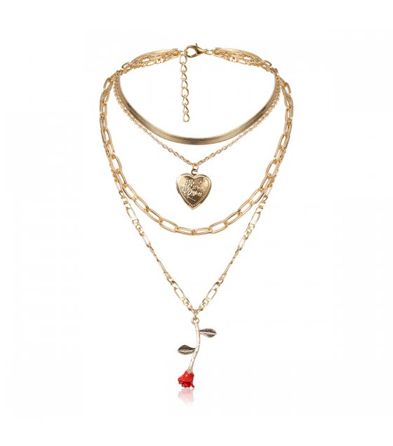N2166 - Peach heart thick chain multilayer necklace