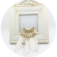 N2169 - White Feather Necklace