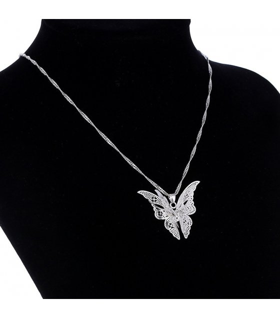 N2173 - Silver Butterfly Pendant Necklace
