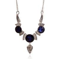 N2213 - Retro geometric gemstone crystal Necklace