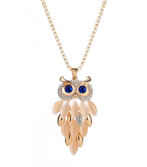N2214 - Opal long owl necklace