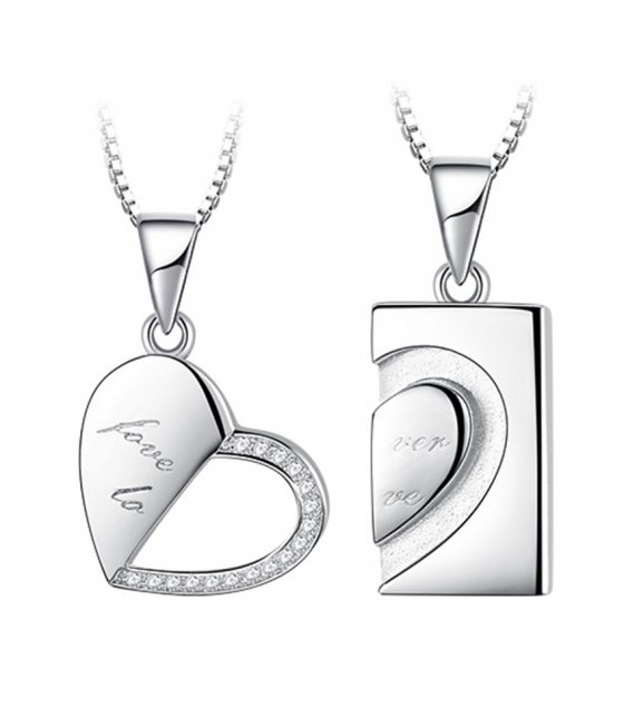 N2219 - Forever love couple heart-shaped necklace