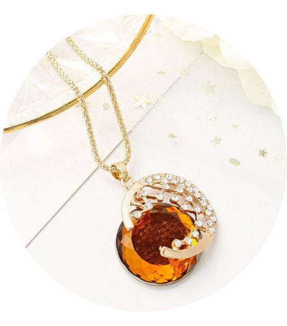 N2227 - Gem moon long necklace