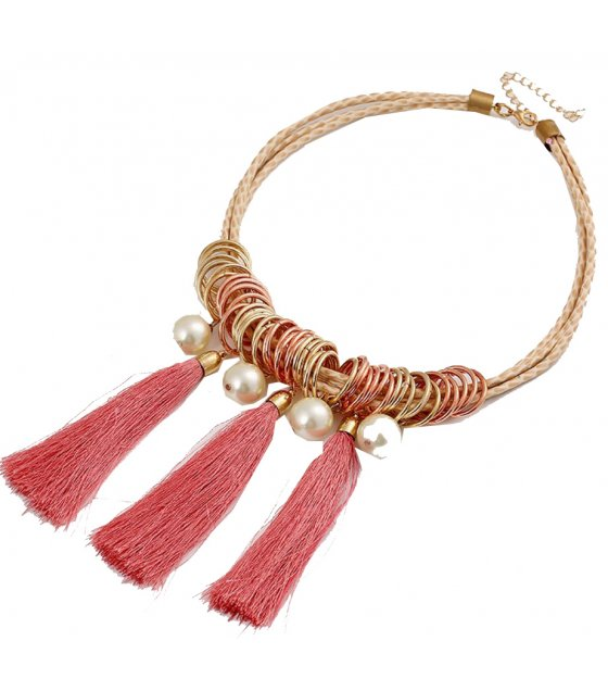 N2229 - Ruili temperament metal ring leather cord necklace
