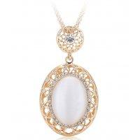 N2251 - Retro opal pendant long necklace