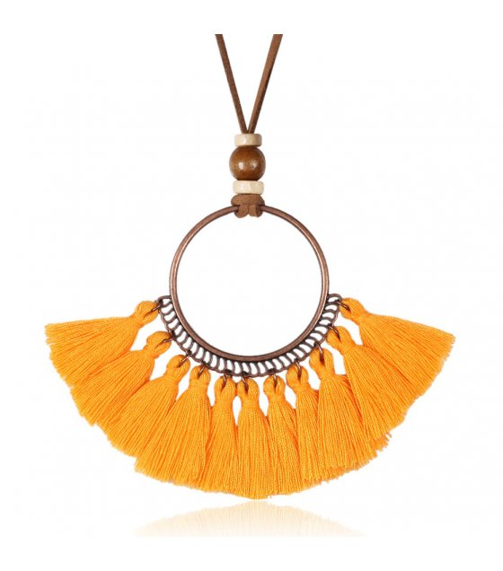 N2252 - Ethnic style leather chain Necklace