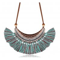 N2253 - Retro chain tassel pendant necklace