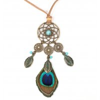 N2254 - Bohemian style peacock feather necklace