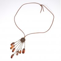 N2255 - Bohemian long feather tassel leather necklace
