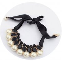 N2259 - Pearl ribbon necklace