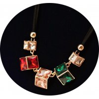 N2264 - Korean retro crystal gemstone necklace