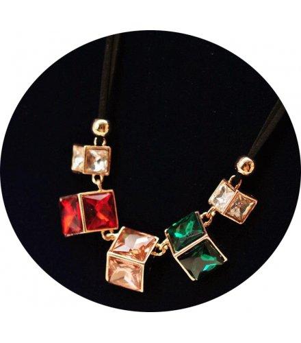 N2264 - Korean retro crystal gemstone necklace