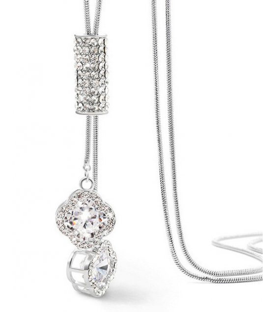 N2266 - Four-leaf clover diamond necklace