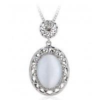 N2272 - Oval opal pendant long necklace