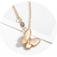 N2282 - Korean classic opal butterfly necklace