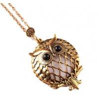 N2299 - Retro owl round glass pendant necklace