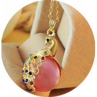 N2314 - Flash Diamond Peacock Long Sweater Chain Necklace