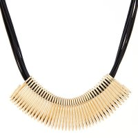 N2319 - Metal square multilayer wax rope Necklace