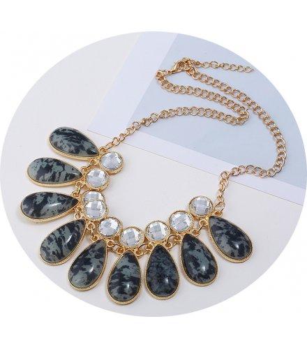 N2321 - Drop Shaped Colored Resin Gem Short Necklace