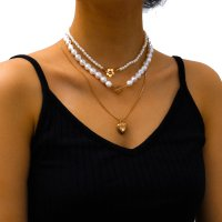 N2334 - Simple Multilayer Pearl Necklace