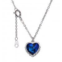 N2342 - Blue Crystal Heart Necklace