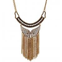 N2347 - Short tassel diamond butterfly necklace