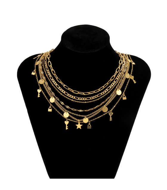 N2351 - Simple sequin key lock set clavicle necklace