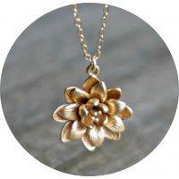 N2356 - Lotus shape pendant Necklace