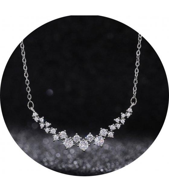 N2361 - Korean bright star zircon pendant necklace