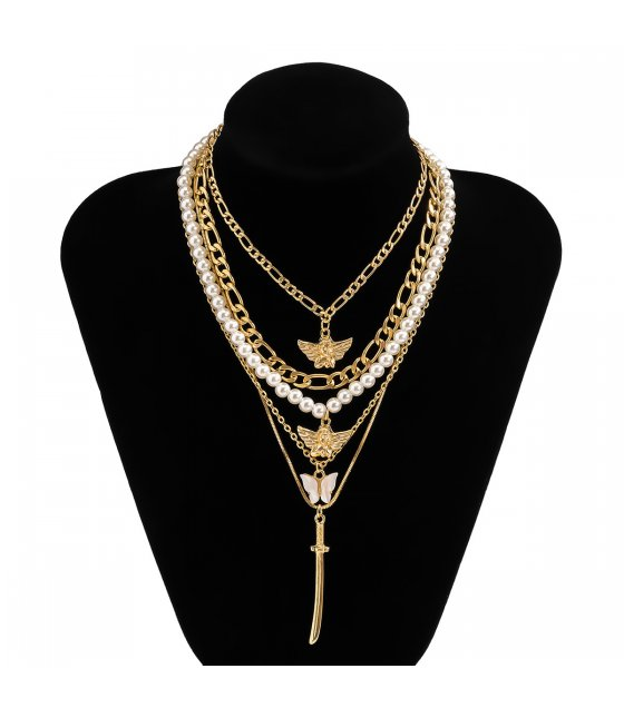 N2366 - Multilayer butterfly necklace