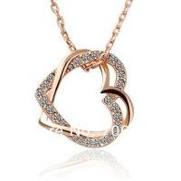 N462 - Double Peach full heart necklace