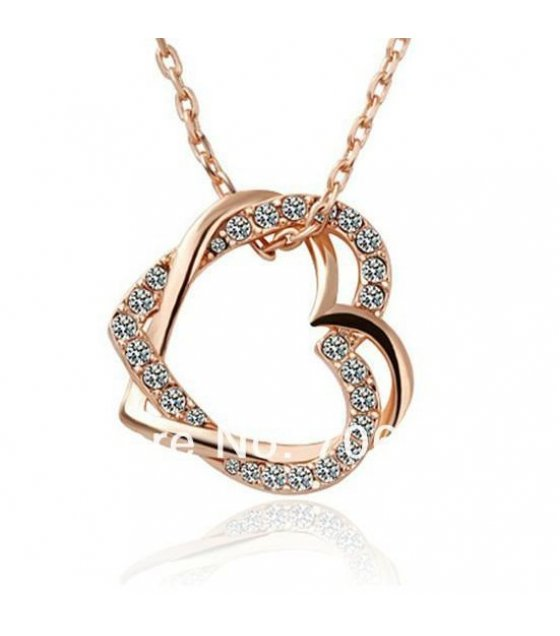 N462 - Double Peach full heart necklace