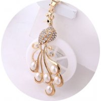 N574 - White Pearl Diamond Peacock Necklace