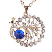 N577 - Blue Diamond Peacock Necklace