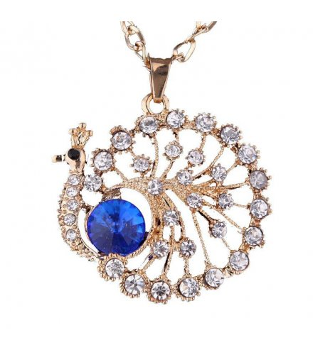 N577 - Blue Diamond Peacock Necklace