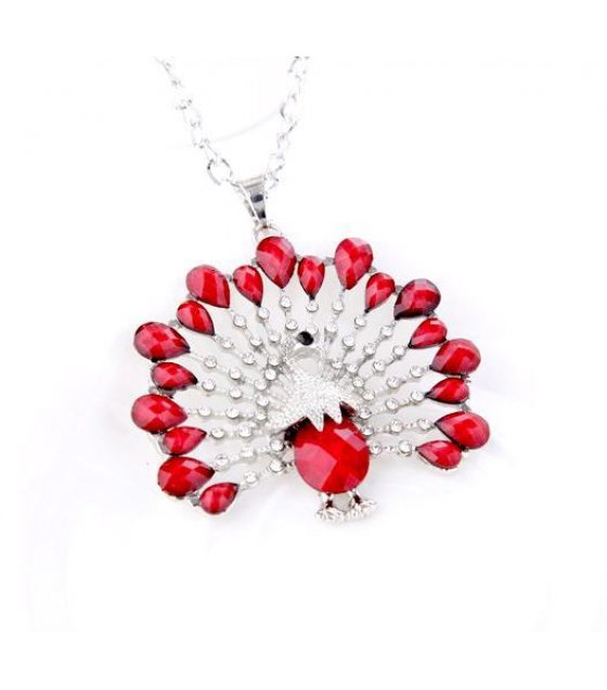 N820 - Silver & Red Mixed Peacock Necklace