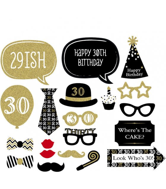 PS004 -  30th Birthday - Black+Gold - Photo Booth Props Kit