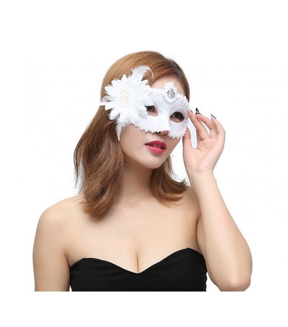 PS057 - White Floral Party Mask