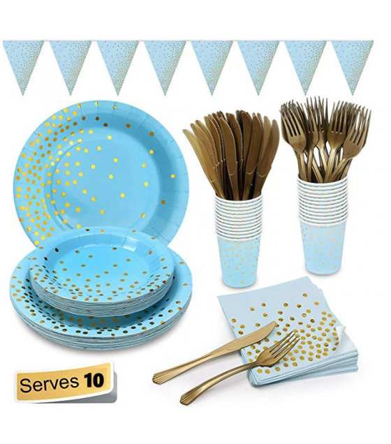 PS066 - Blue tableware Birthday Party Paper Plate Kit