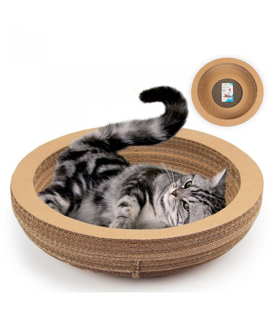 PT027 - Bowl-Shaped Corrugated Paper Cat Scratching Pad Bed